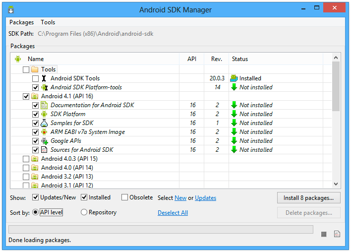 Setting up the Android SDK for Visual Studio